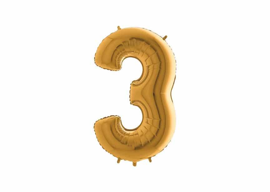 Folieballon Cijfer 3 - Goud