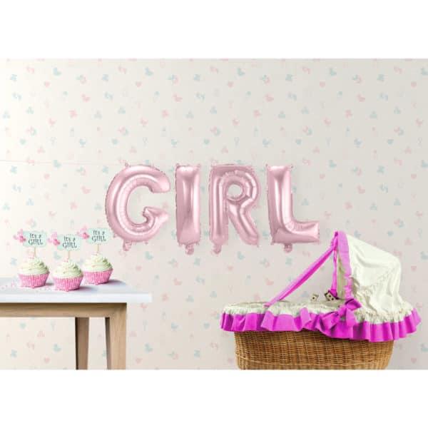 Baby Roze Folie Ballonnen Set GIRL 1