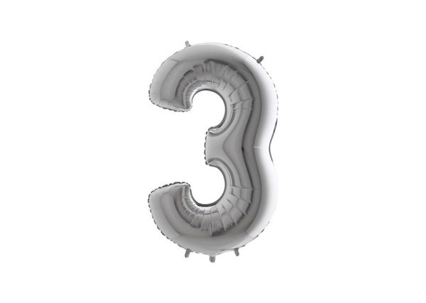 Folieballon Cijfer 3 - Zilver