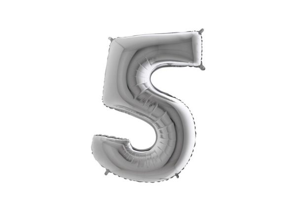Folieballon Cijfer 5 - Zilver