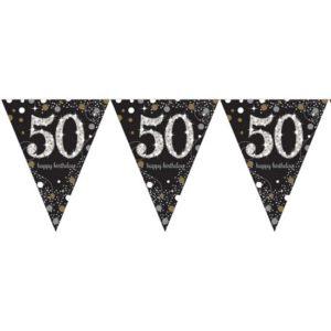 Vlaggenlijn 50 jaar (4m) sparkling gold