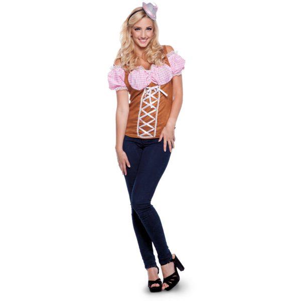 Roze Tiroler Topje Dames Oktoberfest Maat L-XL