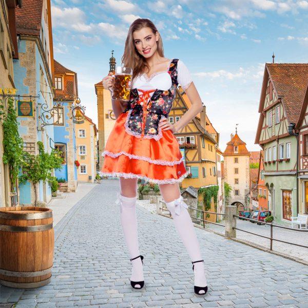 Tiroler Jurk Dirndl Oktoberfest Bloem S-M 2