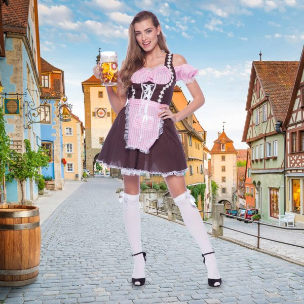 Tiroler Jurk Dirndl Roze Maat S-M 2