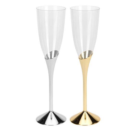 Champagneglazen plastic goud&zilver(4st)
