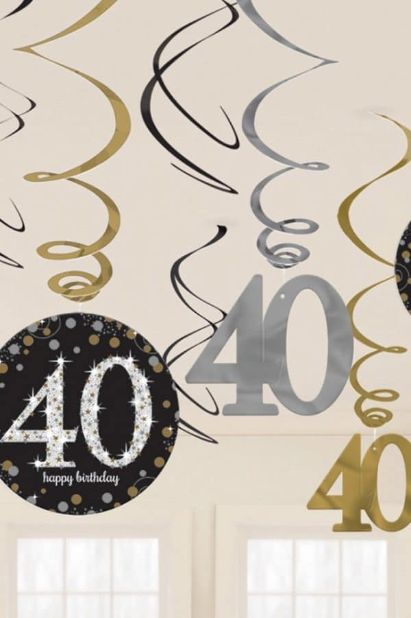 Hangdecoratie swirl Happy Birthday 40 1